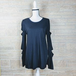 n: PHILANTHROPY Double Cut-Out Striped Long Sleeve
